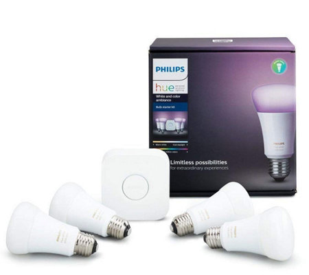 Philips Hue Starter Kit With 4 Led Color Bulbs Motion Sensor