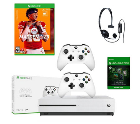 Xbox One S 1TB Bundle with Madden NFL 20, Controller, and Headset
