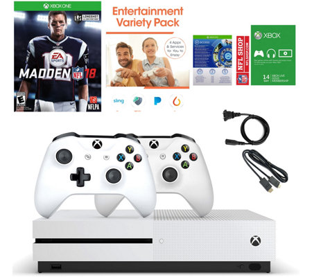 Xbox One S 500GB Madden 18 Bundle with Two Controllers and App Pack