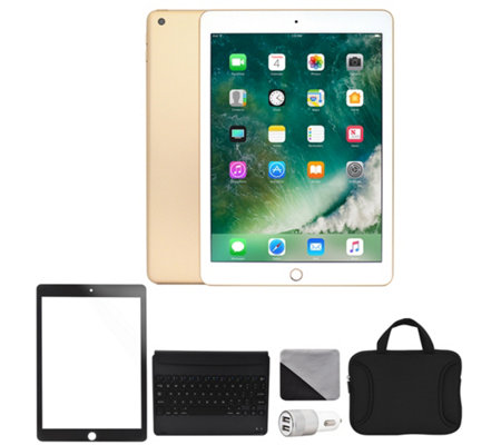 "Apple 2018 iPad 9.7"" 32GB Wi-Fi + Cellular Bundle - Gold"