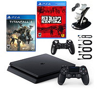 PS4 Slim 1TB Console with Red Dead Redemption 2, Titanfall 2 - E296183