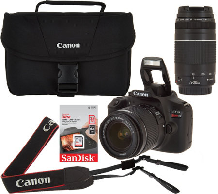 Canon Rebel T6 18mp Dslr Wi Fi Camera W 18 55 75 300mm Lens Bag Sd Card Qvc Com