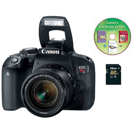 Canon EOS Rebel T7i DSLR Camera w/ 18-55mm Lens& 16GB SD Card