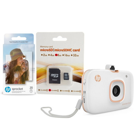 HP Sprocket 2-in-1 Portable Photo Printer & Camera w/ 8GB SD Card & Paper (Multi Color)