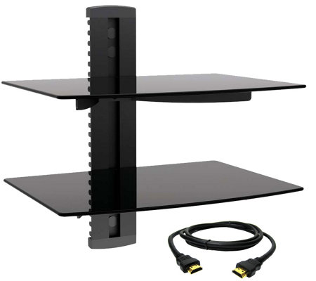 MegaMounts Tempered Glass Double-Shelf Mount w/HDMI Cable