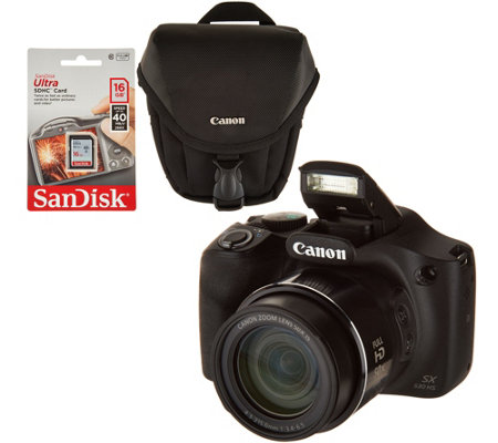 Canon PowerShot SX530 HS 16MP 50X Zoom Wifi Digital Camera w/ Case and SD