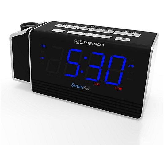 Emerson Smartset Projection Alarm Clock Radio With Usb Port Qvc Com
