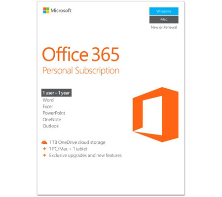 Microsoft Office 365 Personal 1 Year w/ 1TB OneDrive For PC or Mac