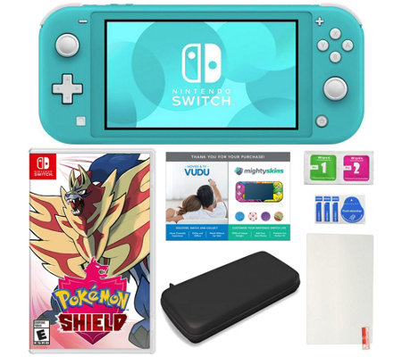 Nintendo Switch Lite with Pokemon Shield and Accessories
