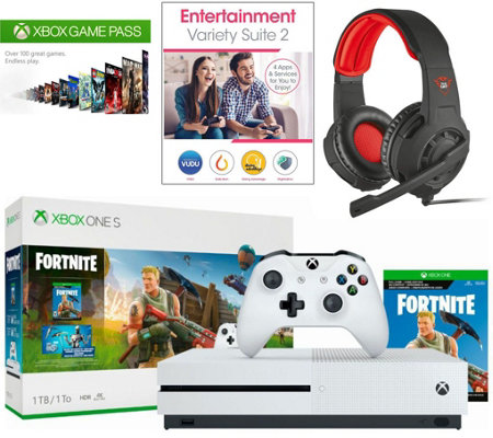 Xbox One S 1TB Fortnite Bundle with Headset and 3 mo. Game Pass