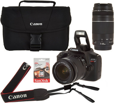 Canon Rebel T6 18MP DSLR Wi-Fi Camera w/18-55 75-300mm Lens, Bag & SD Card