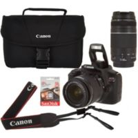 Deals on Canon EOS Rebel T6 DSLR 18MP Camera w/18-55 75-300mm Lens