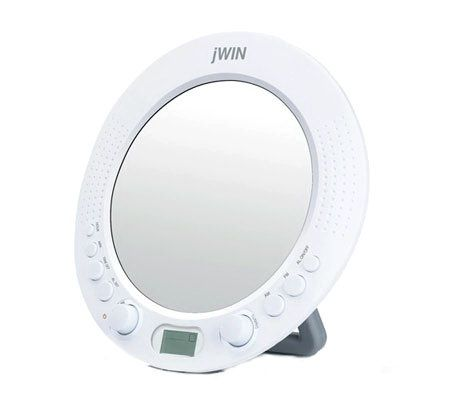 JWIN JXM58 Splashproof Shower Radio With AlarmClock U0026 Mirror   Page 1 U2014  QVC.com