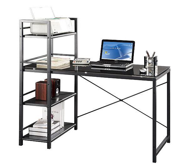 Techni Mobili Computer Desk With Four Tiershelf Tower Thumbnail In Stock
