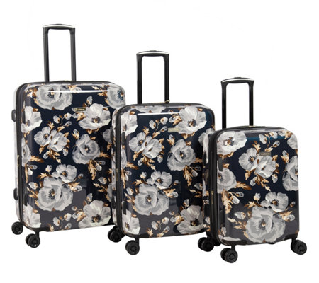 Isaac Mizrahi 3-Piece Black Floral Hardside Spinner Set - Inez