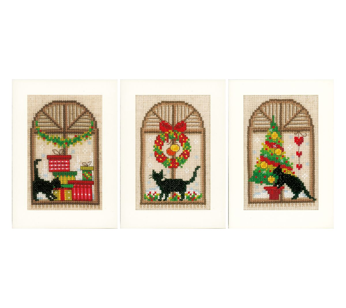 vervaco christmas cards on aida counted cross stitch kit