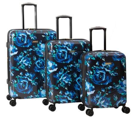 Isaac Mizrahi 3 Piece Blue Floral Hardside Spinner Set Inez