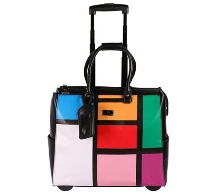 Karla Hanson Color Block Rolling Carry On Luggage Bag Denise