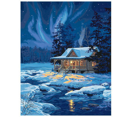 Paint By Number Kit Moonlit Cabin