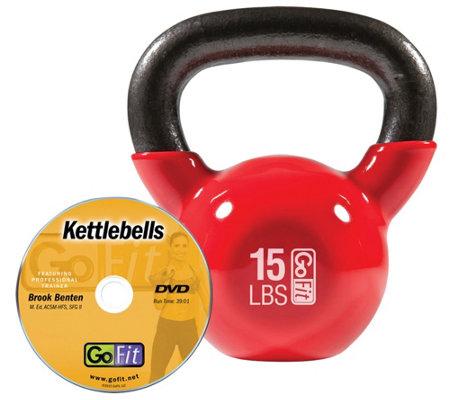 GoFit Kettelbell & Iron Core Training DVD (15 lbs/Red)
