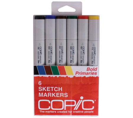 Set of Six Copic Sketch Markers - Secondary Tones