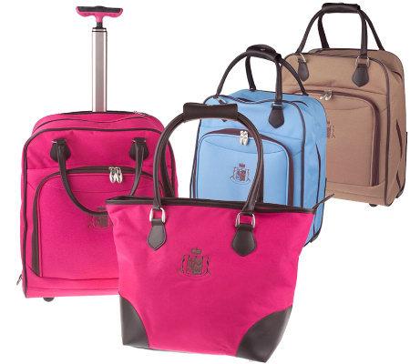 Gloria Vanderbilt Rolling Weekender Bag Matching Tote
