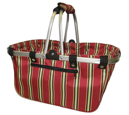 Janet Basket Red Stripe Print Large Aluminum Frame Basket
