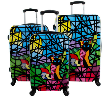Chariot Mosaic Cat Printed 3 Piece Hardside Luggage Set