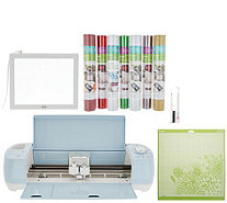 Cricut Blue Explore Air 2 Cutting Machine Colored Vinyl And Accessories - F13430