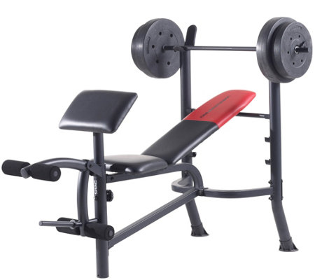Weider Pro 265 Standard Bench, Bar, and WeightSet