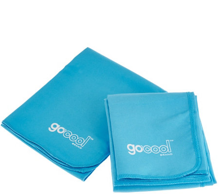 """As Is"" GoCool S/2 Instant Chill Reusable Towels 1 Jumbo and 1 Large"