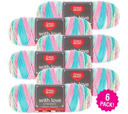 Red Heart Multipack Of 6 Candy Stripe With Loveyarn