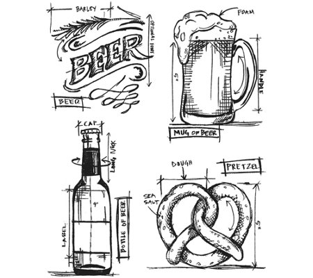 "Tim Holtz Cling Stamps 7"" x 8.5"" - Beer Blueprint"