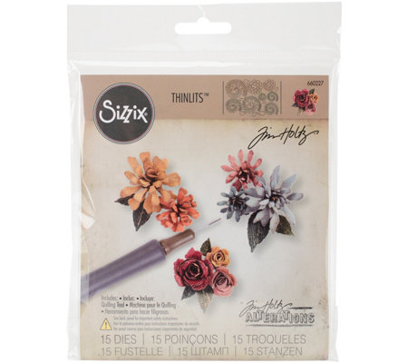 Sizzix Thinlits 15-Piece Tiny Florals Die Set by Tim Holtz