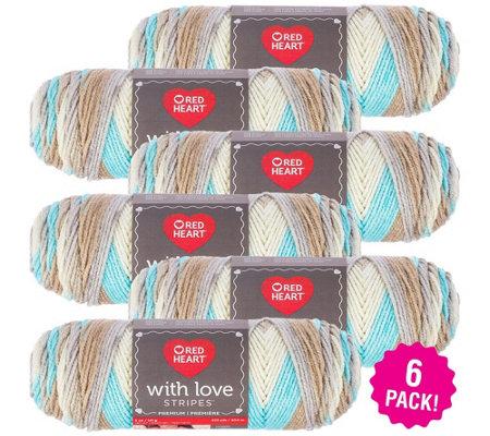 Red Heart Multipack Of 6 Sandbar Stripe With Love Yarn