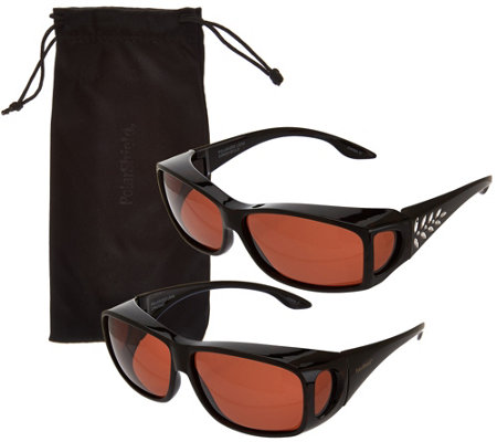 Polar Shield Set of 2 Fits Over Sunglasses with Microfiber Case