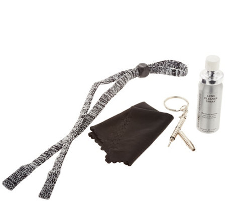 Foster Grant Knit Corded Lanyard and Cleaning Kit
