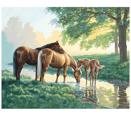 Paint-by-Number Kit - Horses By A Stream