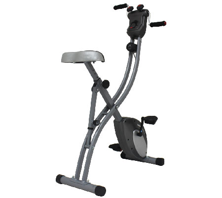 Sunny Health & Fitness Folding Upright Bike with Arm Exercise