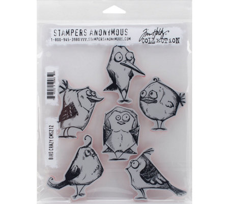 Tim Holtz Cling Stamp Set - Bird Crazy
