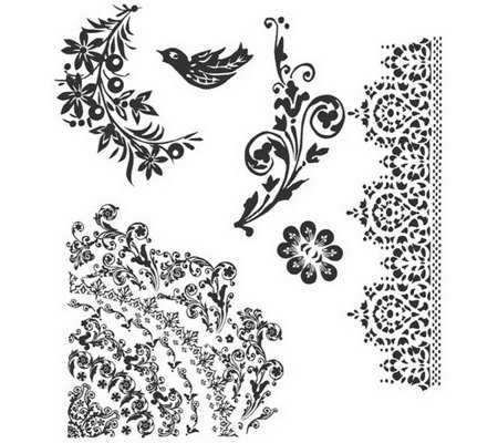 Tim Holtz Cling Stamp Set - Floral Tattoo