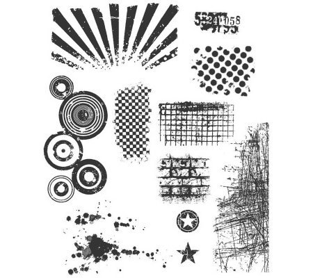 Tim Holtz Large Cling Rubber Stamp Set - BittyGrunge