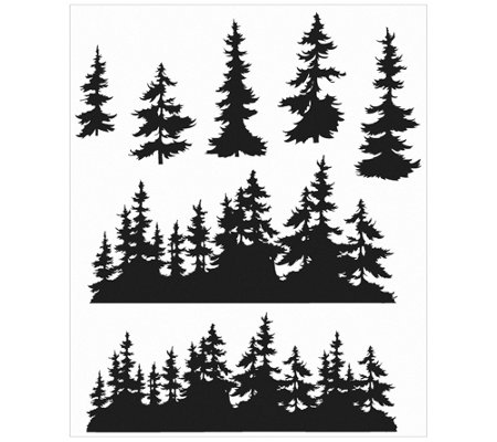 Tim Holtz Cling Stamp Set - Tree Line