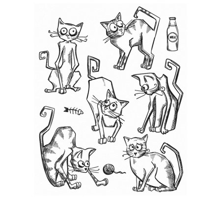 Tim Holtz Cling Stamp Set Crazy Cats