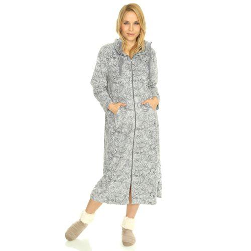 Carole hochman robe de chambre micro polaire zipp e longue poches kangourou qvc france - Robe de chambre femme polaire longue ...