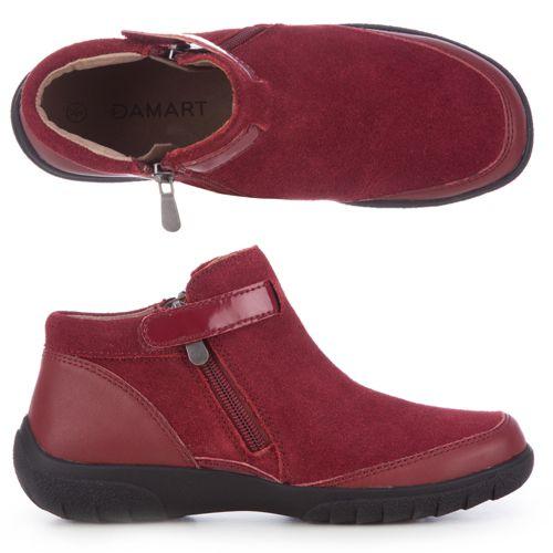 22817bef614 DAMART Bottines Boots Croûte de Cuir Effet Bi-Matière Semelles Amovibles -  QVC France