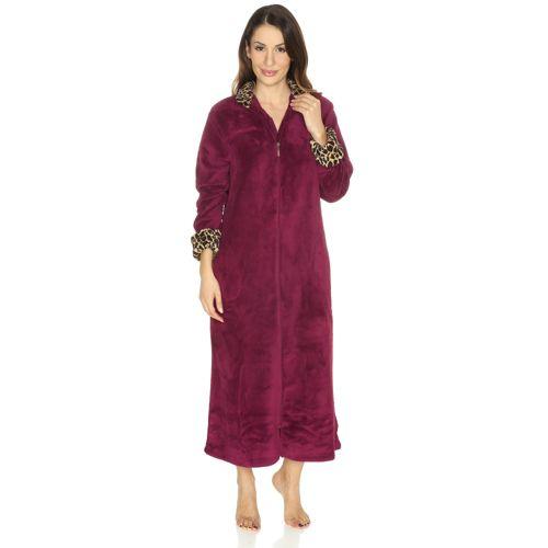 CAROLE HOCHMAN Robe De Chambre Longue Zippée Revers Imprimé QVC France - Robe de chambre avec fermeture eclair