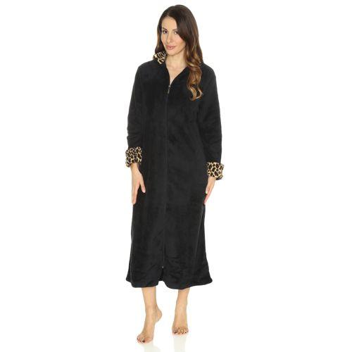 Carole Hochman Robe De Chambre Longue Zippée Revers Imprimé Qvc France