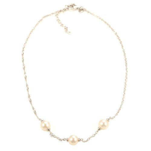 Perlaviva Collier Trilogie Argent 925 Perles De Culture Qvc France