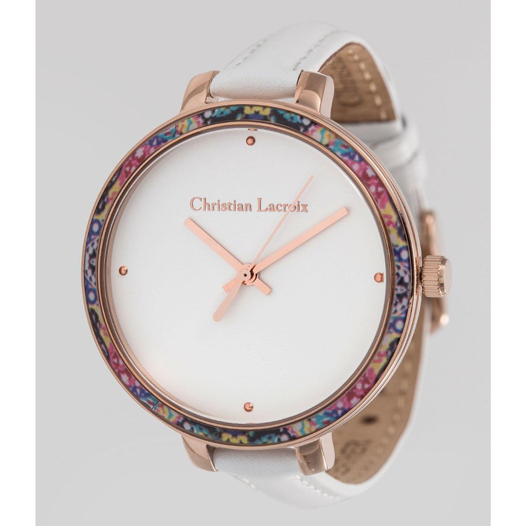 christian lacroix jungle montre femme acier rosé bracelet cuir 38 mm